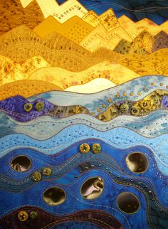 1 of 3 quilts designed for special exhibit - mine celebrate ebb & flow; this one is Ebbing Eveningtide