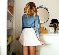 White skirt and chambray