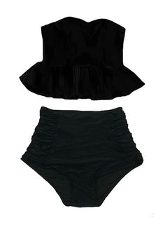 Black Strapless Flounce Top and Ruched Scrunch High waist waisted rise Shorts Bottom Swimsuit Bikini Bathing suit Swim Beach wear Outfit S M