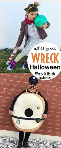 Family Wreck It Ralph Costumes You'll Want to Copy. Creative family costumes for Halloween. Vanellope Von Schweetz, King Candy, Qbert, Fix It Felix and Wreck it Ralph.