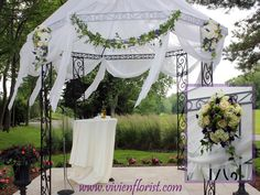 Gazebo decoration with hydrangea, button mums, lisianthus and ivy vines – Montreal West Island Wedding and Event Florist Wedding Flower Arrangements, Floral Arrangements, Wedding Flowers, Gazebo Decorations, Island Weddings, Hydrangea, Ivy, Vines, Golf