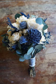 Blue and White Sola Flower Bouquet Starry Night Flower Bouquet Keepsake Bouquet Wood Flower Bou Bouquet Bleu, Blue Flowers Bouquet, Prom Flowers, Blue Wedding Flowers, Sola Flowers, White Wedding Bouquets, Bridal Flowers, Flower Bouquet Wedding, Bridal Bouquets