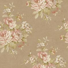 Nantucket Muted Bronze, Eggshell, Old Rose, Pink, Silvery Lilac, Dijon Amber and Soft Green Bouquet Wallpaper