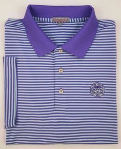 b447206df51c PETER Millar XL Polo SHIRT Striped GOLF Purple BLUE Mens SIZE Sz SUMMER  Comfort