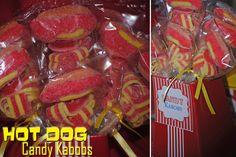 Hot dog candy kabobs