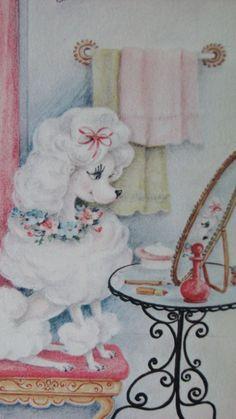Vintage Poodle Picture Framed MidCentury