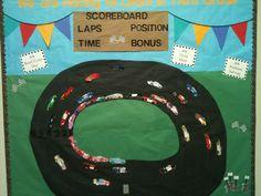 Race car bulletin board for Elementary School