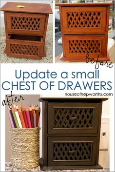 Mini chest of drawers makeover with a huge impact! Update a thrift store mini Chest of Drawers with Chest Of Drawers Makeover, Small Chest Of Drawers, Diy Home Decor For Teens, Decorating Your Home, Furniture Makeover, Diy Furniture, Thrift Store Crafts, Thrift Stores, Fall Diy