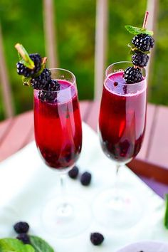Blackberry Champagne Margaritas..10 Champagne Cocktails to Celebrate Mother's Day