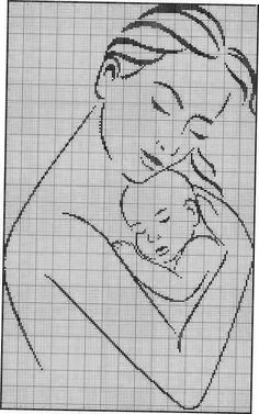 mother and baby Cross Stitch Baby, Cross Stitch Charts, Cross Stitch Designs, Cross Stitching, Cross Stitch Embroidery, Hand Embroidery, Embroidery Patterns, Cross Stitch Patterns, Beading Patterns