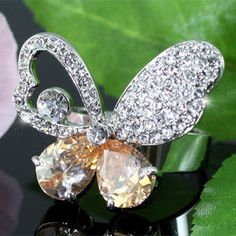 Butterfly Ring Clear and Amber Austrian Crystal