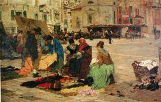 GIACOMO FAVRETTO - Mercado de sábado, em Campo San Paolo - Óleo sobre tela - 1883