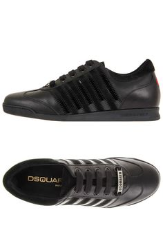 44b543da01 Dsquared² D2 Dsquared2 Men New black Leather Sneaker Shoes Made in Italy  Αθλητικά Παπούτσια Adidas