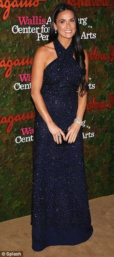 Best Dressed - Demi Moore in a Salvatore Ferragamo navy blue sequin gown @Kat Ellis Nicholson Annenberg Center for the Performing Arts Inaugural Gala