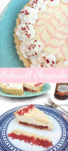 No-bake almond cheesecake layered on top of raspberry jam and short crust pastry topped with the classic Bakewell tart feather design! Bakewell Cheesecake Tart!