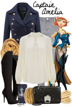 """""""Captain Amelia - Winter - Disney's Treasure Planet by rubytyra featuring cashmere scarves"""""""