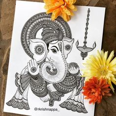doodle art creative ~ doodle art ` doodle art journals ` doodle art for beginners ` doodle art easy ` doodle art drawing ` doodle art patterns ` doodle art creative ` doodle art cute Doodle Art Drawing, Mandala Drawing, Drawing Tips, Mandala Sketch, Doodling Art, Zen Doodle, Lord Ganesha Paintings, Ganesha Art, Ganesha Drawing