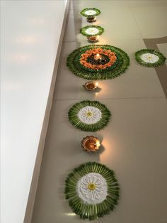 30 Dazzling Diwali Decorations DIY Ideas to Brighten-Up Your Home - Lifestyle Spunk Diwali Decorations At Home, Diy Wedding Decorations, Festival Decorations, Flower Decorations, Table Decorations, Rangoli Ideas, Rangoli Designs Diwali, Diwali Rangoli, Indian Rangoli