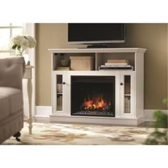 Home Decorators Collection Charles Mill 46 in. Convertible Media Console Electric Fireplace in White-85811Y - The Home Depot
