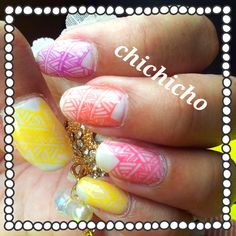 Summer Tribal Rainbow stamp manicure | chichicho~ nail art addicts