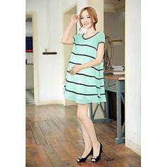Maternity's Fashion Striped Round Collar Chiffon Loose Dress – EUR € 25.19