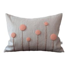 Blush Billy Ball Flower Pillow in Natural Linen by JillianReneDecor Billy Button Botanical Spring Home Decor - Pink Nursery (More Colors) via Etsy