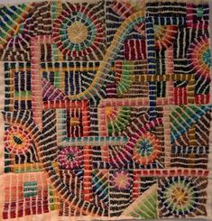 Kantha style stitching using #5 Perle Cotton by Debby Schnabel of DebbyQuilts. See detail at While this \reads\ as bars of satin stitch it is actually stacks of running stitch.