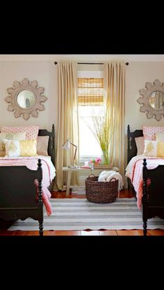 This is the room set up we have for our guest room. Just need to make it happen! I love those mirrors!!