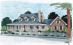 This Classic country style house plan offers a large wrap around porch and main level master bedroom.