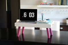 DIY Portable Desk/Tray: The legs fold up so it becomes a flat serving tray!