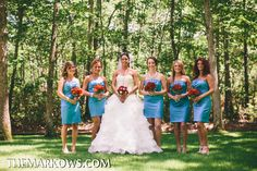 The bride, her bridesmaids, and maid of honor pose for photos in a gorgeous outdoor location. www.VersaillesCaterers.com. Photo courtesy of Markow Photography. #wedding #bride #groom #marriage #VersaillesBallroom #njweddings #njbanquethall #tomsriver #nj #newjersey #weddingtheme #reception #weddingreception