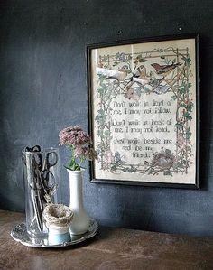 Vintage Cross Stitch Framed In Glass