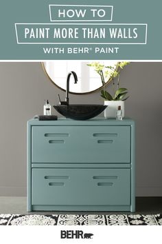 There's more than one way to use a new coat of BEHR® Paint to makeover your home. This modern master bathroom offers plenty of inspiration! The blue hue of Dragonfly on the vanity pops against the Battleship Gray-painted walls—and both colors are from the new BEHR® 2020 Color Trends Palette! Click here to learn how you can paint more than just walls.