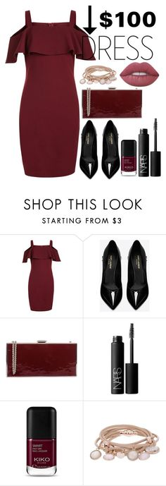 """""""Red clutch and pink lips"""" by justgottalive2 ❤ liked on Polyvore featuring New Look, Yves Saint Laurent, Rodo, NARS Cosmetics, Marjana von Berlepsch and Lime Crime"""