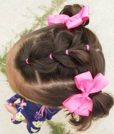 Pull through braid in the middle into 2 pigtails 💕 hotd hairforlittlegirls toddlerhairideas toddlerhair elastics easytoddlerhairstyles Easy Toddler Hairstyles, Baby Girl Hairstyles, Back To School Hairstyles, Princess Hairstyles, Braided Hairstyles, Trendy Hairstyles, Hairstyles For Toddlers, Natural Hairstyles, Children Hairstyles