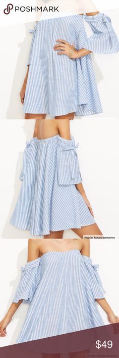 Striped Off The Shoulder Swing Dress D E S C R I P T I O N                                    Striped Off The Shoulder Swing Dress  C O N T E N T 100% Cotton  A T T R I B U T E S  Off The Shoulder Wide 3/4 Sleeves Mini length  F I N I S H  T H E  L O O K Hello Resort 2017. Pair it with your favorite pom sandals and oversized straw hat, throw on your shades and you're ready for the beach Dresses Mini