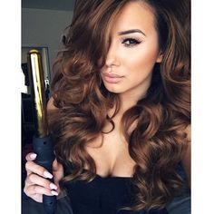 Take your hair game to the next level with #bombayhair styling tools & extensions!  Grab your 32mm Gold or Rose Gold wand for luscious curls like these!  Love the hair color? Then try our: Chestnut Brown (6)   www.bombayhair.com  www.bombayhair.ca  www.bombayhair.co.uk  #bombayhair