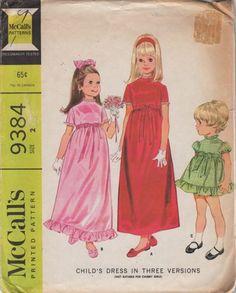 McCalls 9384 60s Girls Dress 2 Lengths High Waist Flared Skirt Flower Girls vintage Sewing Pattern Size 2 Breast 21 | PatternGate - Craft Supplies on ArtFire