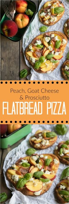 Peach, Goat Cheese and Prosciutto Flatbread Pizzas - i ♥ pasta and pizza recipes - Pizza Flatbread Pizza, Flatbread Recipes, Pizza Recipes, Cheese Recipes, Prosciutto, Goat Cheese Pizza, Vegan Pizza Recipe, Cheesy Breadsticks, Pasta Casserole