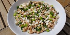 White bean, feta and mint salad. This hearty bean salad recipe is full of flavour from lemon, mint and feta, yet can be whipped up in minutes and makes a wonderful addition to a summer buffet or midweek supper.