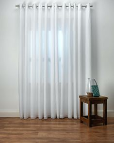 Emma White Lined Voile Curtains from Net Curtains Direct Voile Curtains, Striped Curtains, Curtains Living, Decorative Curtain Rods, Custom Made Curtains, Living Room Modern, Cool Furniture, Bedroom, Interior