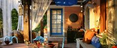 Bright and breezy orange and blue themed outdoor space