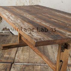 Industriële eettafel T poot van gerycled hout - Vintagelab15.com