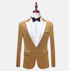 White And Gold Tuxedo Jacket With Glitter - Gentleman's Guru™ Gold Tuxedo Jacket, Tuxedo Suit, White Pants Men, Black Dress Pants, Tuxedo Colors, Velvet Bow Tie, Gold Blazer, White Shawl, Prom Night