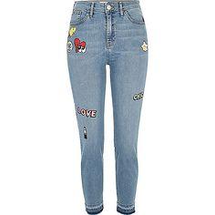 f6cc004bcf7bfd Light blue wash Lori badge jeans. River Island JeansRiver Island WomensDenim  Skinny ...