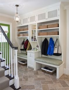 for our laundry/mudroom. high shelves and low bench with storage below bench