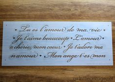 A stencil tutoiral on how to paint a diy wooden table using the a stencil tutoiral on how to paint a diy wooden table using the french poem craft stencil from cutting edge stencils french poem craft stencil fro ccuart Images