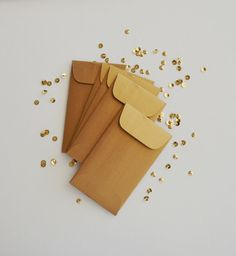 itty metallic gold coin envelopes 10 envelopes by inkkit on Etsy