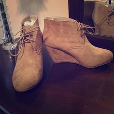 Tan faux suede ankle boots**Brand New** Brand new in box perfect ankle boots. Tan faux suede, super adorable! Reposh!!! Size 8.5 Bella Marie Shoes Ankle Boots & Booties