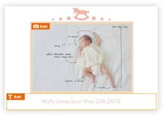 baby announcement card / baby gift thank you card idea
